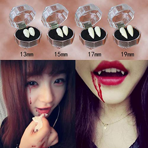 Alikeke 4 Pairs Vampire Teeth for Halloween, Zombie Ghost Devil Werewolf Fangs for Costume Party Halloween Horror Props (13mm,15mm,17mm,19mm)