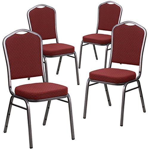 - Flash Furniture 4 Pk. HERCULES Series Crown Back Stacking Banquet Chair in Burgundy Patterned Fabric - Silver Vein Frame