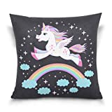 "La Random Twinkle Rainbow Unicorn Decorative Throw Pillowcase Cover Protector Square Cushion Covers for Bedroom Sofa Car Invisible Zipper Closure 16"" x 16"""