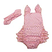 Messy Code Baby Girl Romper Clothes Infant Bodysuit Toddler Boutique Outfits with Headband Pink Polka Dot 6-12 Months