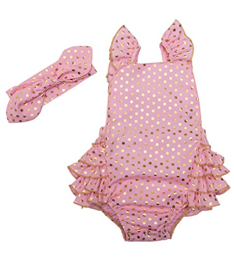 Messy Code Baby Girl Romper Clothes Infant Bodysuit Toddler Boutique Outfits with Headband Pink Polka Dot 6-12 (Pink Baby Girl Outfit)