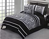 8 Piece Black and White Flocking Zebra Comforter Bed in a Bag Set Queen Size Bedding By Plush C Collection