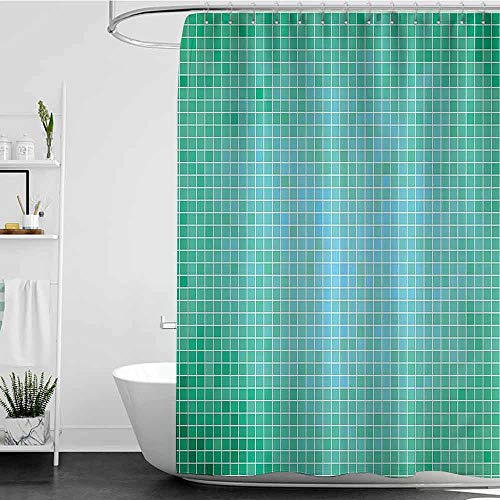 Ediyuneth Shower Curtains Gold Teal Decor,Square Pixel Mosaic Pattern Simple Modern Contemporary Decorative Illustration Print,Green W55 x L84,Shower Curtain for Shower stall