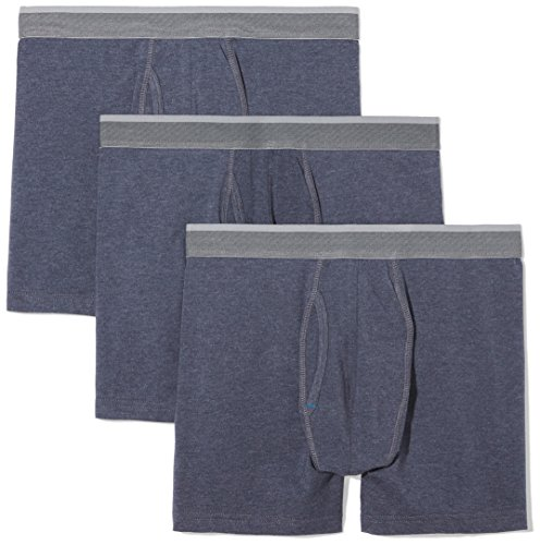 Cotton Jersey Boxers - Amazon Essentials Men's 3-Pack Performance Cotton Stretch Boxer Brief, Navy Heather, Large