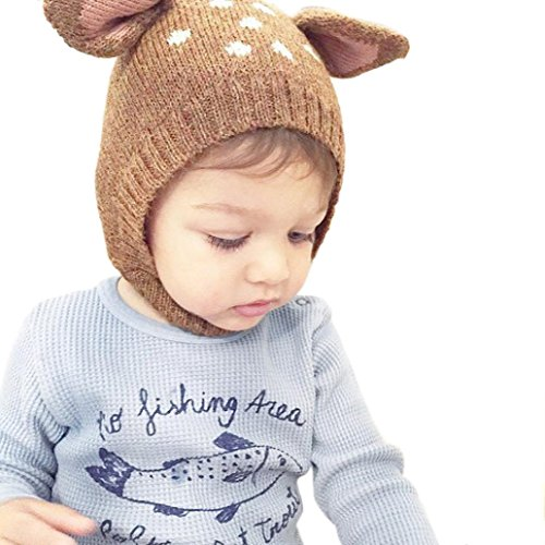 Hot Sale! Baby Boy Girl Warm Knit Earflap Beanie Hat Toddler Newborn Kids Crochet Skull Cap (Coffee)