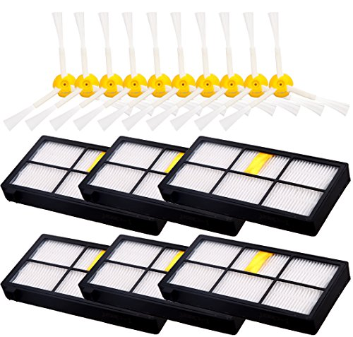 6pcs 3-Armed Side Brush + 10pcs HEPA Filter for Roomba 880 870 980, I-clean for iRobot Roomba Vacuum Replacement Parts (800 900 Series) (Robotic Notes Elite compare prices)