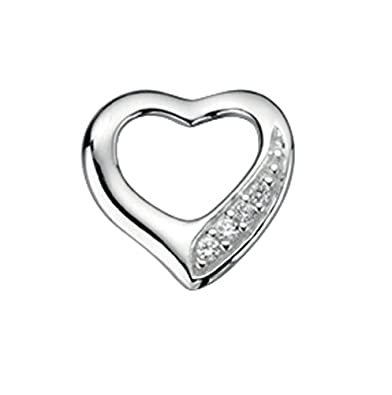 Unique Wishlist Sterling Silver Cubic Zirconia Floating Heart Pendant - Pendant Only *P3505C ImWLgz