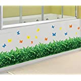 BIBITIME Green Grass Border Wall Decals Colorful Butterfly Vinyl Sticker for Living Room Skirting line Stickers Office Window Bathroom Tile Glass Door Decor DIY