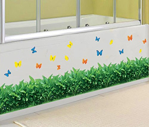 BIBITIME Green Grass Border Wall Decals Colorful Butterfly Vinyl Sticker for Living Room Skirting line Stickers Office Window Bathroom Tile Glass Door Decor ()