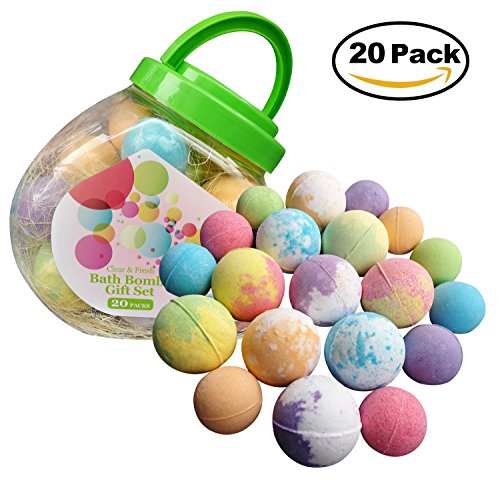 Bath Bombs Gift Set with 20 Huge Size Essential Oil Bath Bombs, Rich Foam and Moisturizing Bath Bombs for Kids, for Birthday Gift, for Christmas and for Her