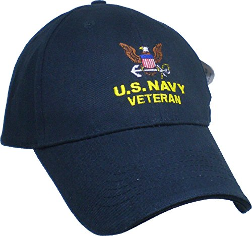US Navy Embroidered Military Cap - Navy Veteran OSFM (Military Veteran Ball Caps)