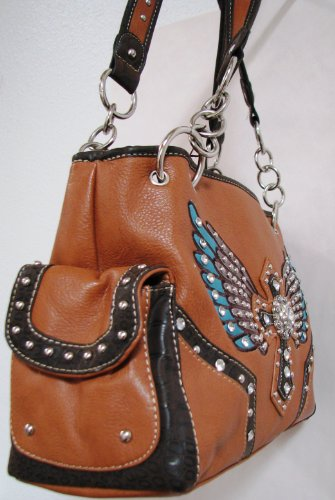Winged cross CP-style leather purse accented in turquoise leather wings on either side of the cross