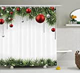 Christmas Shower Curtain Fabric Decorations by Ambesonne, Classical Christmas Ornaments and Baubles on