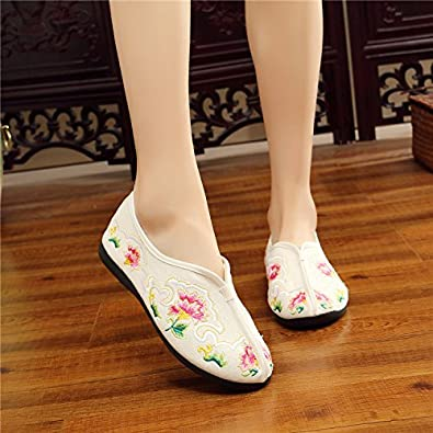 YDA- Damen Schuhe KAFEI Frauen Leinwand Stickerei Weichen Boden Bequem Mutter Runder Kopf, Weiß, 38