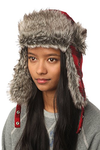 Urban Outfitters Womens Wool Faux Fur Warm Winter Trapper Aviator Hat  Red  Buffalo Plaid