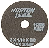 Norton Gemini Small Diameter Reinforced Abrasive Flat Cut-off Wheel, Type 01, Aluminum Oxide, 3/8'' Arbor, 2'' Diameter x 1/16'' Thickness  (Pack of 5)