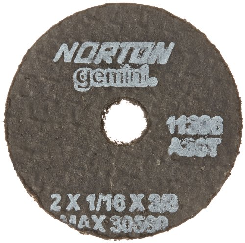 Norton Gemini Small Diameter Reinforced Abrasive Flat Cut-off Wheel, Type 01, Aluminum Oxide, 3/8