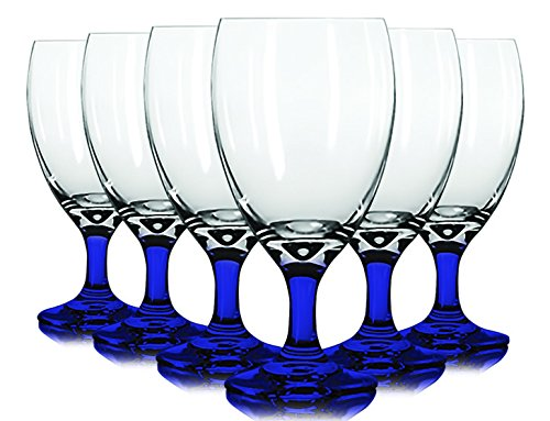 Libbey Cobalt Blue Iced Tea Glasses with Colored Accent - 16 oz. Set of 6- Additional Vibrant Colors Available by TableTop King