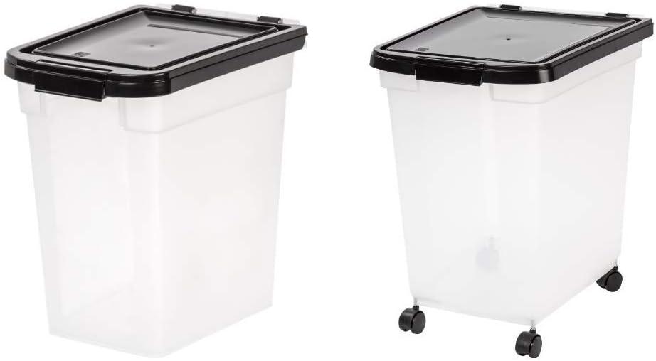 IRIS Nesting Airtight Pet Food Container, Medium with IRIS Nesting Airtight Pet Food Container, Extra Large