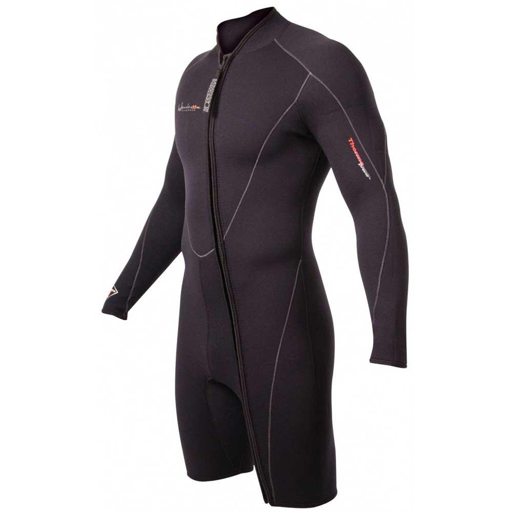 Henderson Thermoprene 7 mm Men's Front Zip Long Sleeve Shorty Jacket, Black - Medium Short