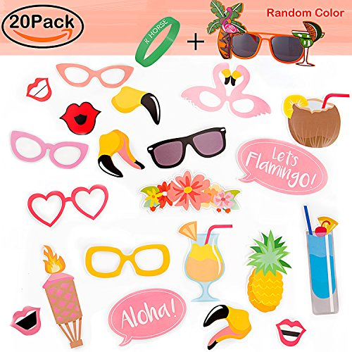 Party Photo Booth Props Kit,R • HORSE Summer Party Luau Party Decoration Dress Up Accessories for Holiday Beach Party (20 Count+1 Party - Tiki Sunglasses