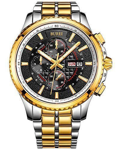 BUREI Men's Luminous Chronograph Day and Date Watch with Two-Tone Bracelet,Gold Bezel Black Dial