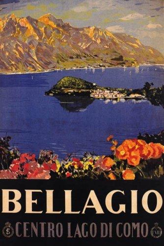 CENTRO LAGO LAKE DI COMO BELLAGIO EUROPE ITALY ITALIA LARGE VINTAGE POSTER REPRO