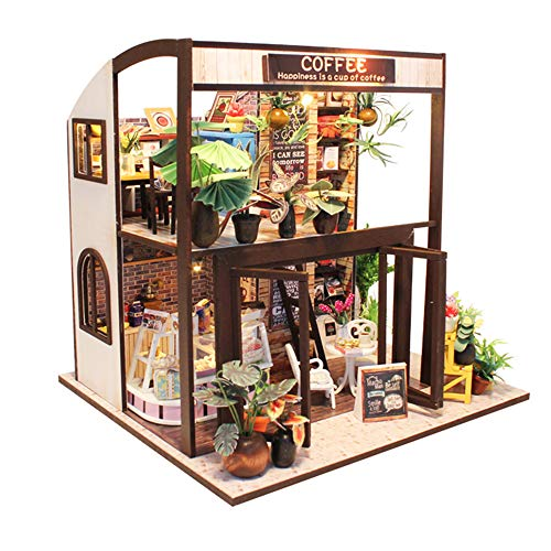 Spilay DIY Miniature Dollhouse Wooden Furniture Kit,Handmade Mini Modern Coffee Store Model LED Light & Music Box ,1:24 Scale Creative Doll House Toys Children Gift (Coffee House) M027