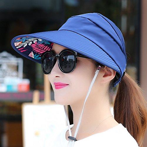 Dark bluee  light Women's Adjustable Beach Floppy Sun Hat