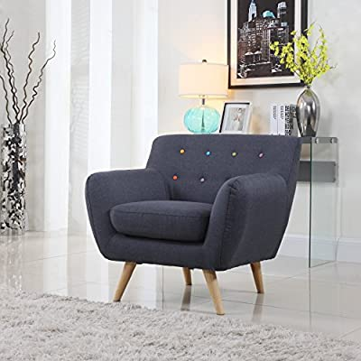 Mid Century Modern Style Sofa / Love Seat Red, Grey, Yellow, Blue - 1 Seat, 2 Seat, 3 Seat (Grey Blue w/ Assorted Colored Buttons, 1 Seater)