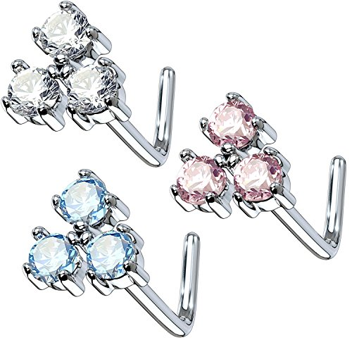 Flowers Nose Ring (BodyJ4You 3PCS Set Nose Ring 20G L-Shape Bend Stud Flower CZ Surgical Steel Nostril Body Piercing Pack)