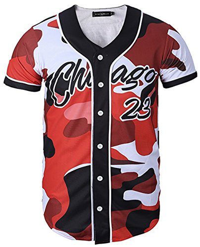 HOP FASHION Youth Unisex Boy Girl Baseball Jersey Short Sleeve 3D Chicago 23 Print Dance Team Uniform Tops Shirt ()