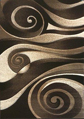 Chocolate Contemporary Rug (Modern Area Rug Chocolate Brown Sculpture Design 258 (5 Feet 2 Inch X 7 Feet 3 Inch ))