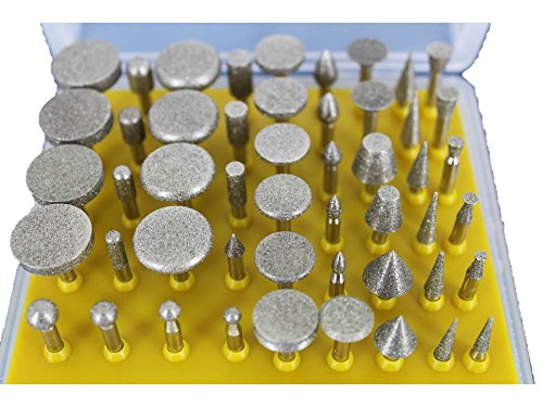 TEMO 50 pc Diamond Coated Grinder Head Lapidary Glass Burr with 1 8 Inch 3 mm Shank for Dremel and Compatible Rotary Tools