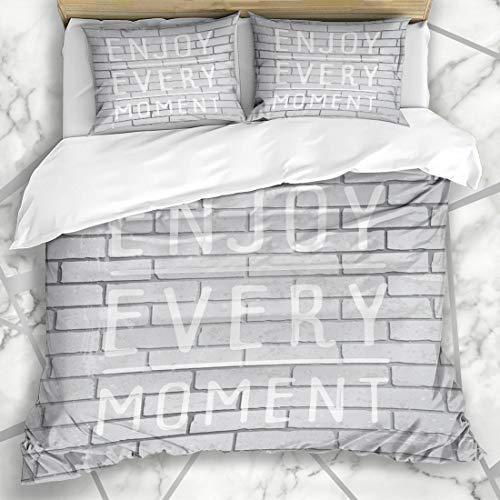 Ahawoso Duvet Cover Sets Queen/Full 90x90 Vintage Lettering Slogan On Alphabet Concrete Block Brick Brickwall Cement Design Microfiber Bedding with 2 Pillow Shams ()