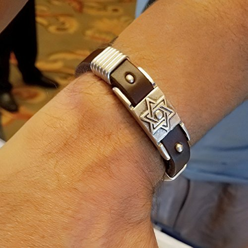 Judaica Jewelry (Jewish Star Brown Leather Bracelet for Man or Bar Mitzvah + Alef Bet Jewelry)