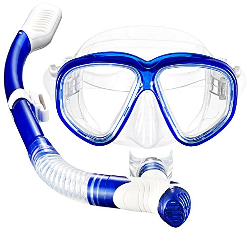 Mpow Snorkel Mask, Scuba Diving Mask for Snorkeling Diving Swimming, Easy Breath Scuba Snorkeling Gear with Silicon Mouth Piece and Easy Adjustable Strap (Blue) by Mpow