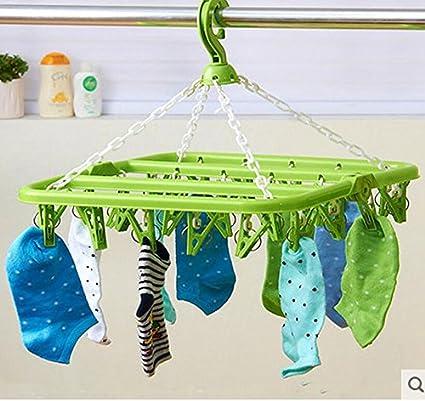 32 pinza plegable colgador de plástico tendedero de ropa interior Calcetines del bastidor rack multifuncional clip