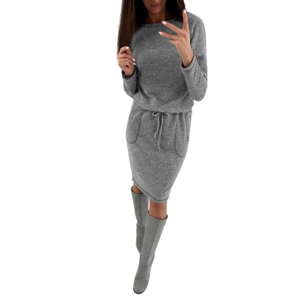 YANG-YI Clearance, Hot Womens Solid Long Sleeve Ladies O Neck Drawstring Dress with Pocket Dress