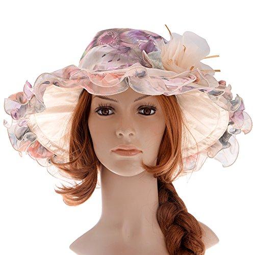 Southern Belle Hat (Vbiger Womens Sun Hat Large Brim Chiffon Lace Flounce Hats (Multicolor))
