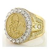 10k Solid Yellow Gold Mens Zodiac CZ Ring - Scorpio (Style# 1933) - Size 10