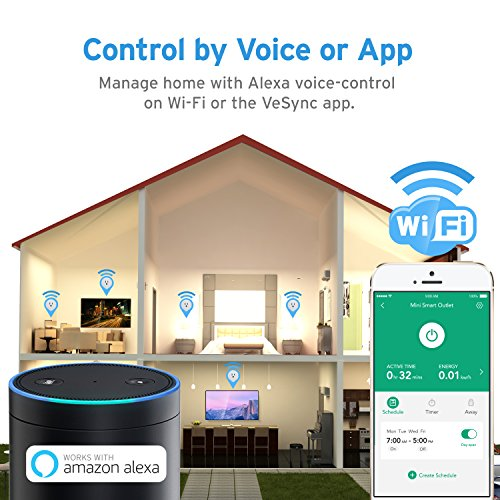 Etekcity 2 Pack Voltson Wi-Fi Smart Plug Mini Outlet with Energy Monitoring, No Hub Required, ETL Listed, White, Works with Alexa, Google Assistant and IFTTT by Etekcity (Image #2)
