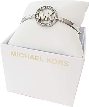 Michael Kors MKJ4117 Silver Tone Pave Logo Bangle