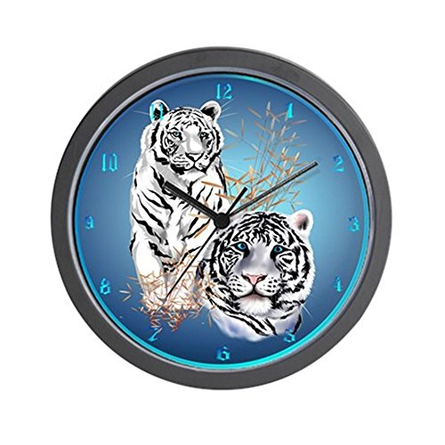 CafePress - White Tigers Shirts Wall Clock - Unique Decorative 10