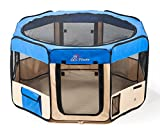 "Pawer 36""×18.5"" 8-Panel Foldable Pet Playpen, for Small Medium Cat/Dog/Puppy, Small Size, Blue+Beige, 600D Oxford Cloth Portable Indoor & Outdoor Kennel with Carry Bag"
