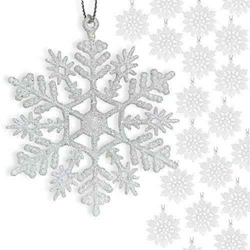 "BANBERRY DESIGNS Small White Snowflakes - 3"" Diam.Glittered Snow Flake Ornaments - Bulk Pack of 96pcs Shatterproof Plastic"
