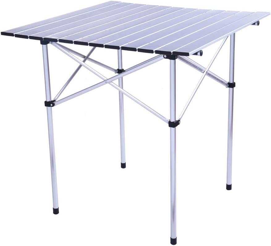 Ydida Adjustable Height Outdoor Compact Table Folding Aluminum Picnic Party Dining Desk Portable Camping Table and Chairs Set