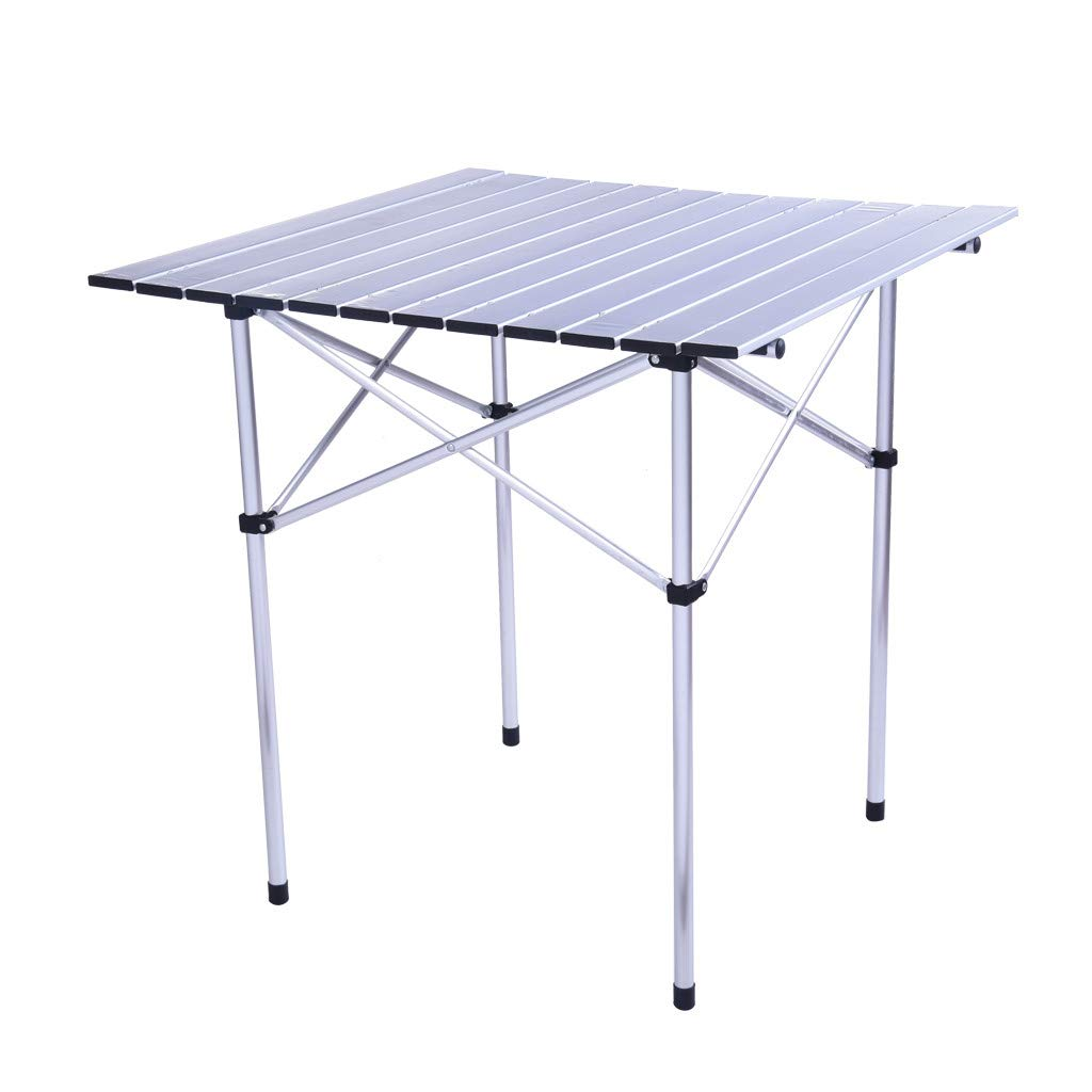 Wotryit Portable Camping Table 4-Person Folding Aluminum Picnic Party Dining Desk in/Out