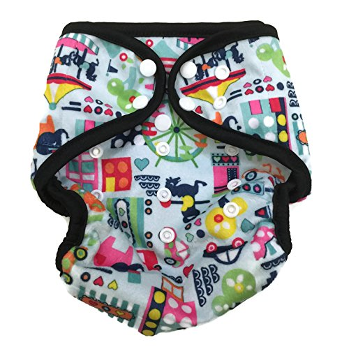 BB2 Baby One Size Printed Minky Minkee Snaps Cloth Diaper Cover for Prefolds (One Size, Transportation)