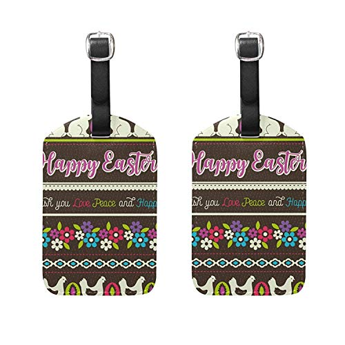 Set of 2 Luggage Tags Easter Eggs Rabbit Suitcase Labels Travel Accessories ()